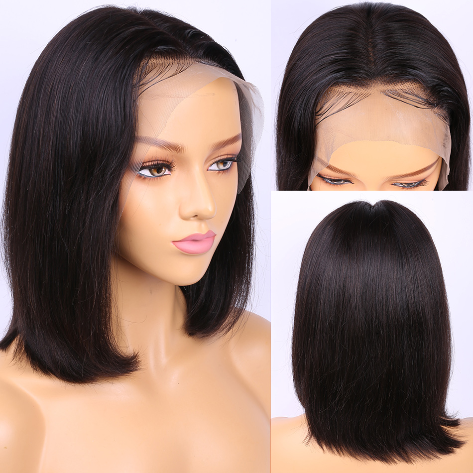 Alibele Bob Wig Peruvian Straight Lace Front Human Hair Wigs For Black Women Remy Hair 13x4 Pre Plucked Short Human Hair Wig