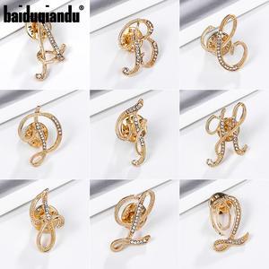 Baiduqiandu New Arrival 26 Initial Letters DIY Clear Rhinestones Pins Brooches Fashion Jewelry Accessories