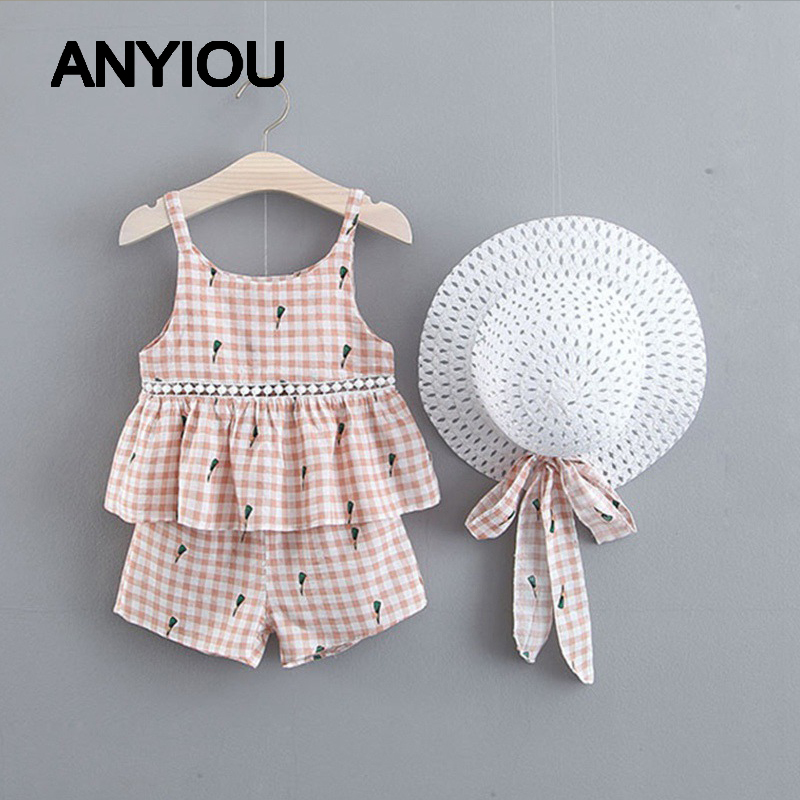 2020 Summer Kids Girls Clothes Children Clothing Bear Leader Girls Clothing Sets Floral Chiffon Halter+Embroidered Shorts Straw