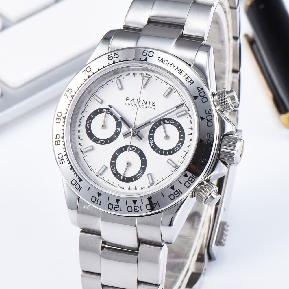 Новые мужские кварцевые часы Parnis с белым циферблатом, 39 мм, стальной браслет, хронограф, мужские часы VK64, мужские часы в подарок с коробкой
