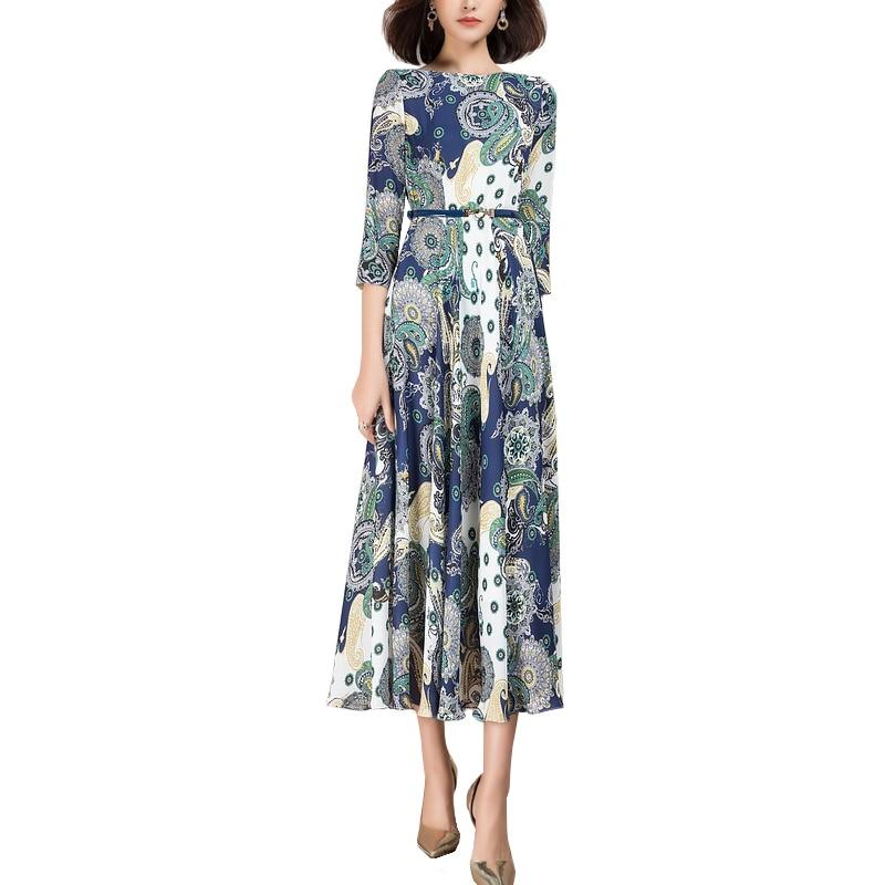 2021 primavera nova moda três quartos manga floral estampado vestido longo para mulher