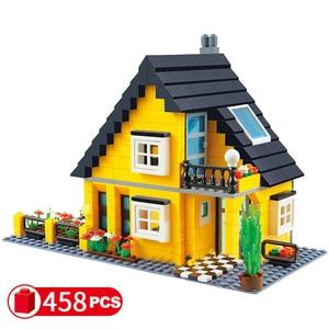 Image 4 - City Architecture Villa Cottage Model Building Blocks Compatible Friends Beach Hut Modular Home House Village Construction Toys