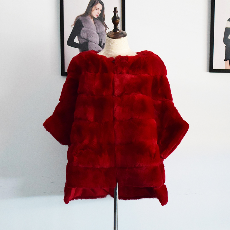Tatyana Furclub Rex Rabbit Fur Coat Women Red Jacket Bat Type Winter Coat Women Plus Size Real Fur Coat Women Leather Jacket