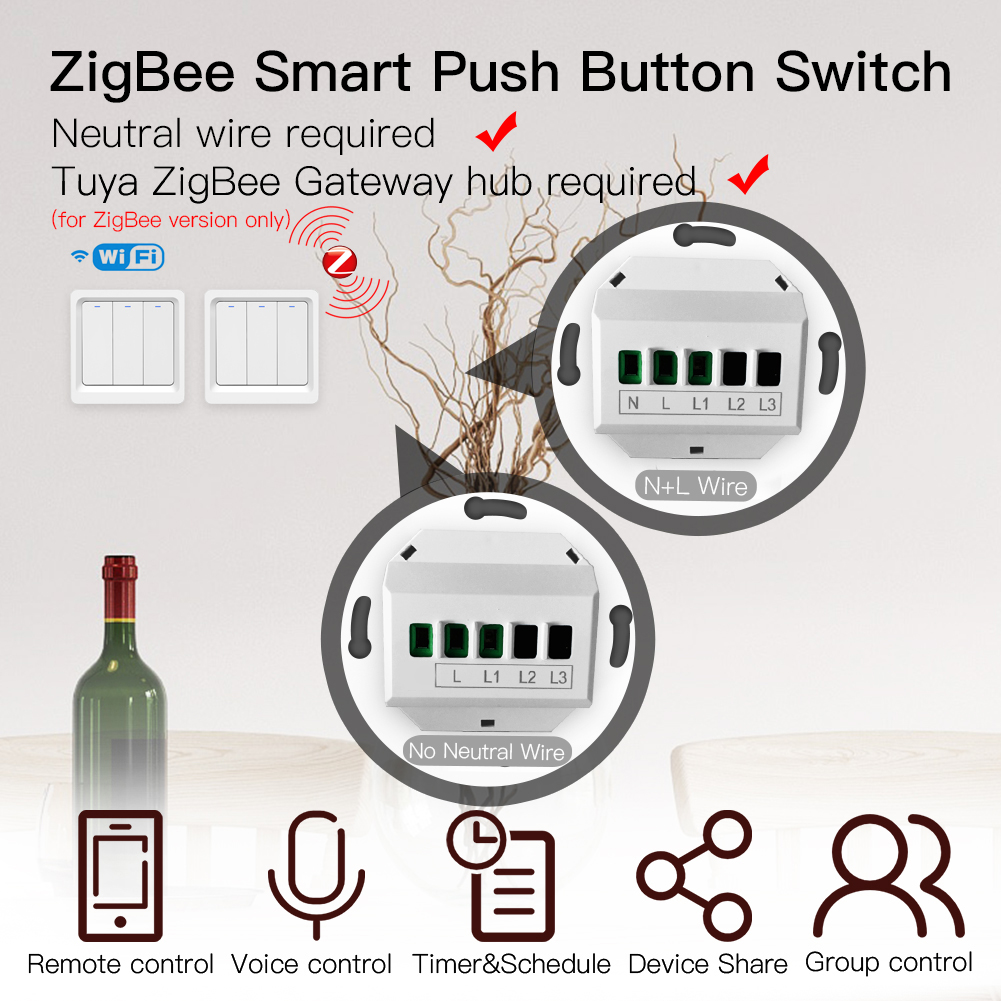 Moeshouse WiFi ZigBee Smart Push Button Switch No Neutral Required 2MQTT Setup Tuya APP Control with Alexa Google Home  2/3 Way