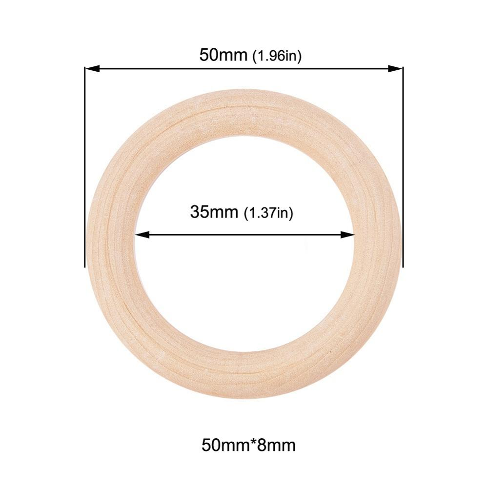 Sutoyuen Baby Teether 100pcs Wooden Round Wood Ring 40-70mm DIY Bracelet Crafts Gift Wood Teether Natural Teething Accessory