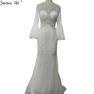 Image 4 - Sereine colline élégant gris sirène de luxe manches longues 2020 perles tenue de fête Fromal robe de soirée robes pour les femmes LA70289