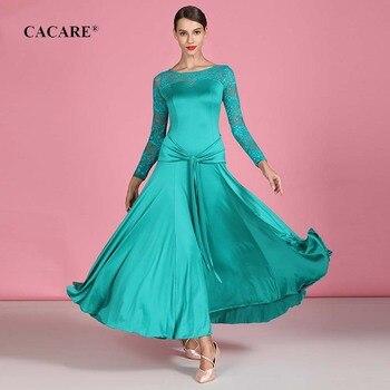 CACARE 2020 Ballroom Dance Competition Dresses Waltz Dress Standard Elegant D0320 Big Ruffled Hem Lace Sleeve