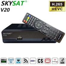לווין מקלט SKYSAT V20 H.265 HEVC DVB S2 טלוויזיה תיבת Powervu קולט לווין טלוויזיה מקלט HD עם LAN יציאת RJ45