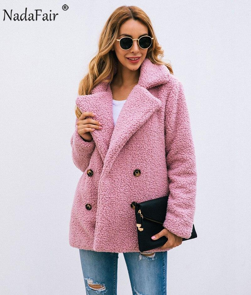 Nadafair plus size fleece faux fur jacket coat women winter pockets thicken teddy coat female plush overcoat casual outerwear 11