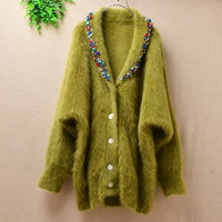 women's fashion winter sweater buttons cardigans long bat sleeves deep v neck bright diamonds real rabbit fur knitted coat