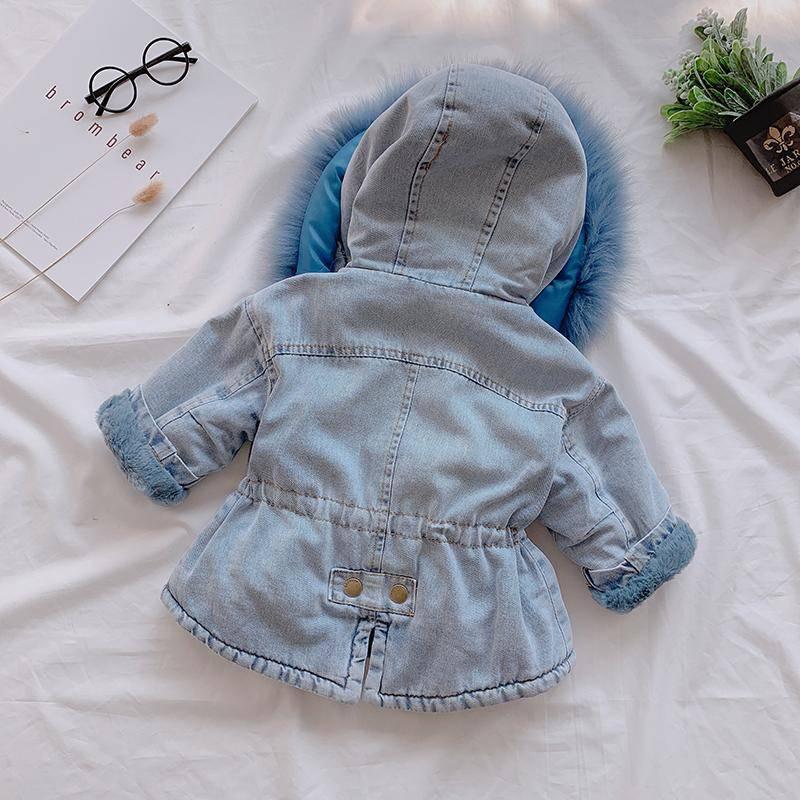 Baby Girls Dress Cotton Coat Thicken Jacket 2021 Winter Warm Fur Hooded Kids Top Wear Long Sleeve Jackets 1 2 3 4 5 Years 2