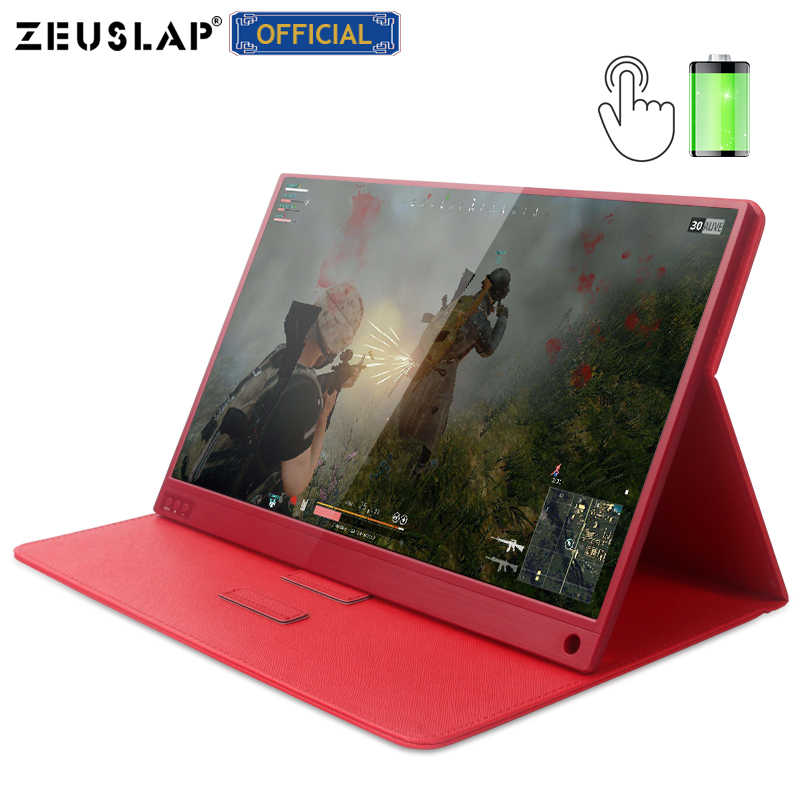 ZEUSLAP Touch Screen Tragbare Monitor 1920x1080 FHD IPS 15,6-zoll Display Monitor Akku mit Leder Fall