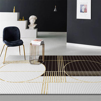 Wishstar czarno biały złoty pasek dywan do sypialni Modren dywaniki do salonu duży geometryczny dywan śródziemnomorski styl europejski w Dywany od Dom i ogród na