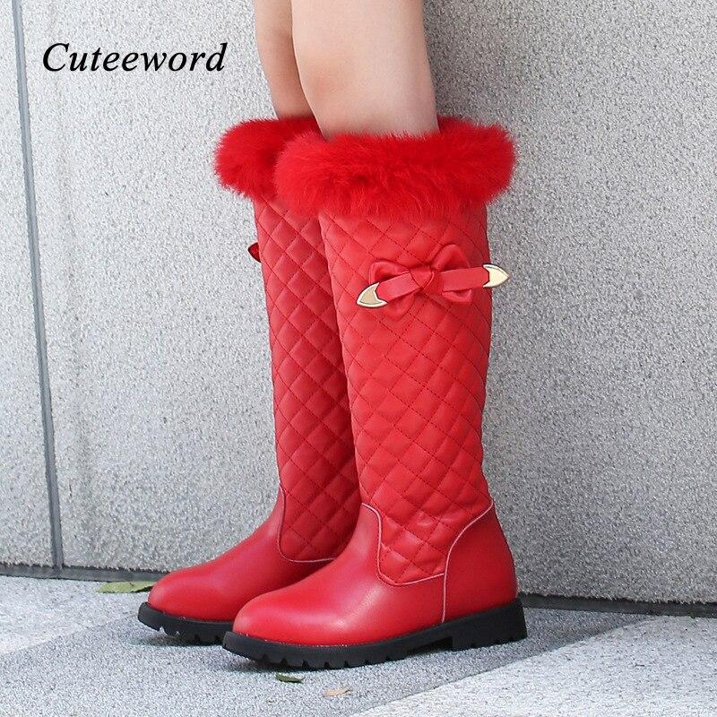 Hiver enfants bottes en cuir véritable filles princesse bottes doux Slip imperméable filles chaussures Plus velours chaud enfants bottes de neige