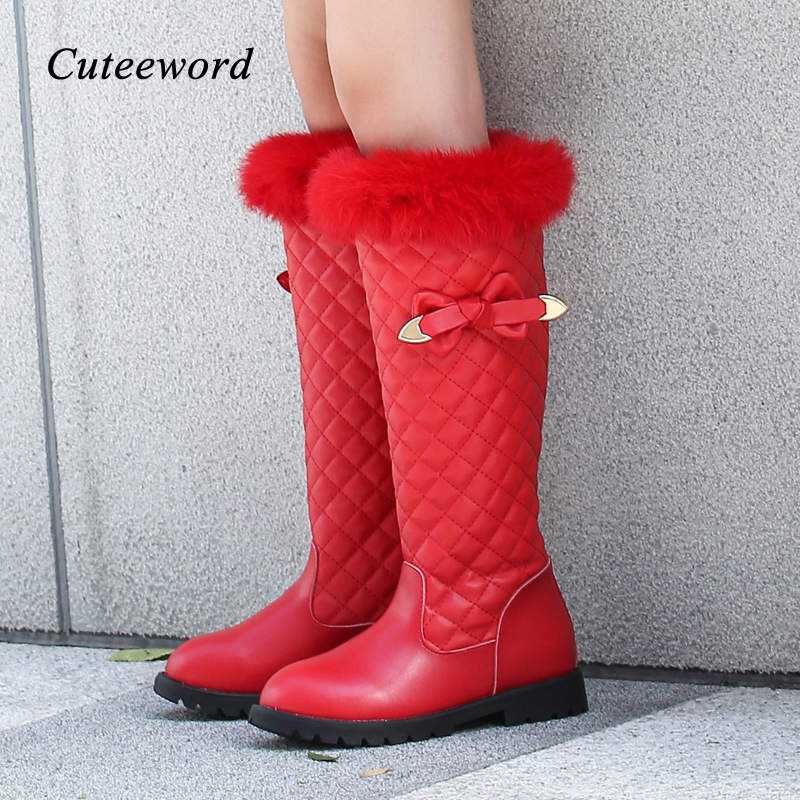 Winter Children Boots Genuine Leather Girls Princess Boots Soft Slip Waterproof Girls Shoes Plus Velvet Warm Kids Snow Boots