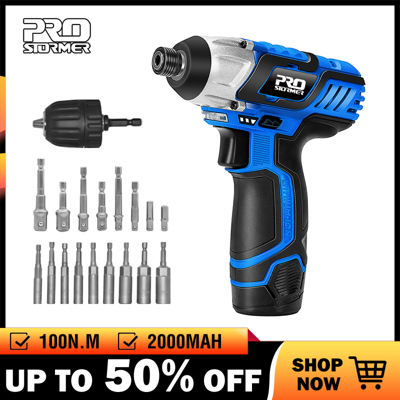 PROSTORMER 100NM Electric Screwdriver 12V Cordless Drill Lithium Battery Rechargeable Hexagon Power Cordless Screwdriver Screw-in Electric Screwdrivers from Tools on