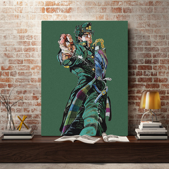 Jotaro Kujo JoJo's Bizarre Adventure Wall Art Framed Wooden Frame Canvas Decoration poster prints Home bedroom decor Painting 3