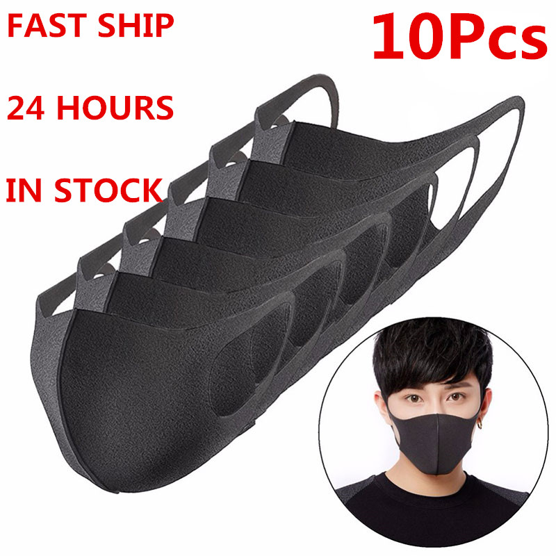 10/20/30Pcs Black Bilayer Sponge Mouth Mask Anti Haze Dust Washable Reusable Double Layer Dustproof Mouth-muffle Wind Proof Mask