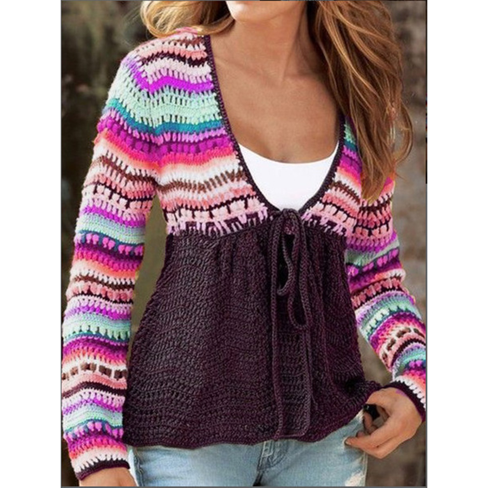 Rainbow Striped Womens Sweater Casual Plus Size Knitted Autumn Winter Pullovers And Sweaters Female Soft Warm Jumper Tops