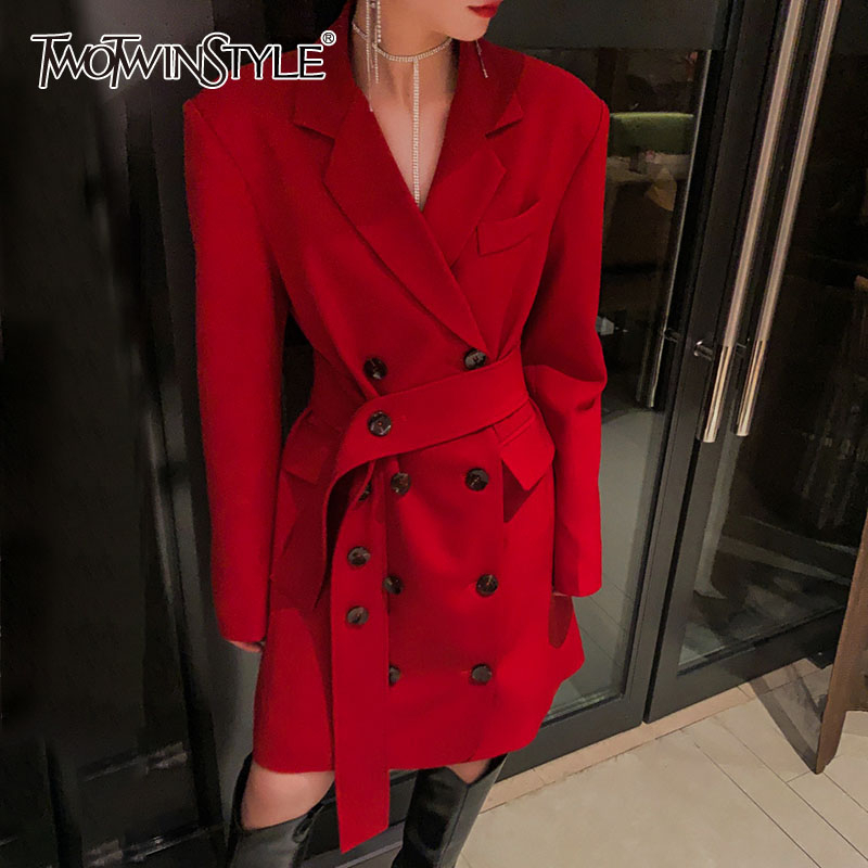 TWOTWINSTYLE Casual Asymmetrical Women Blazer Notched Long Sleeve High Waist Tunic Lace Up Suit Female 2020 Fashion Clothing New