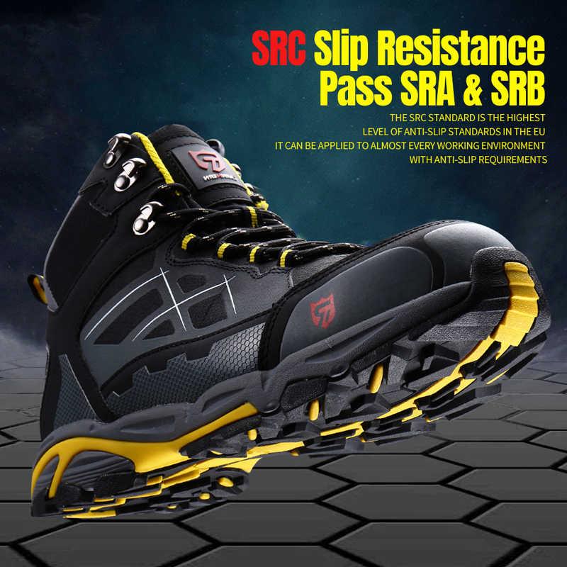 MODYF Mens Staal Veiligheid Teen Werkschoenen Lichtgewicht Ademend Anti-smashing Anti-lek Anti-statische Beschermende Laarzen