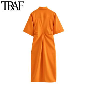 TRAF Women Chic Fashion Button-up Draped Midi Shirt Dress Vintage Short Sleeve Side Zipper Female Dresses Vestidos 2