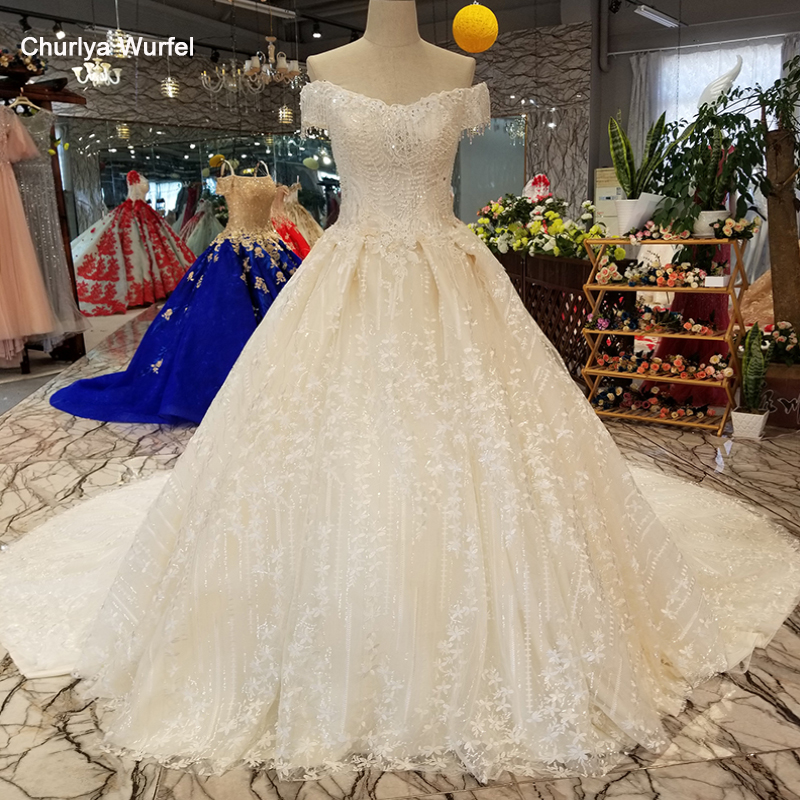 LS30074 Sexy Off Shoulder Shiny Wedding Gown 2018 With Beading V-neck Lace Up Back Bridal Wedding Cheap Dress Quick Shipping