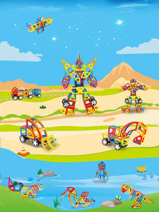 Construction-Building-Set Magnet Educational-Toys Children for Big-Size