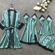 Women Pajamas Sets Satin Sleepwear Silk 4 Pieces Nightwear Pyjama Spaghetti Strap Lace Slee