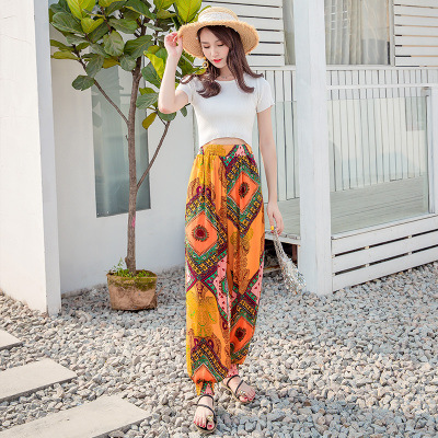 Photo Shoot 2018 New Style Ethnic-Style Trousers Women's Bohemian Beach Shorts Loose Harem Pants