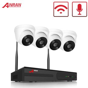 ANRAN domu bezprzewodowy wideo zestaw do nadzorowania Audio CCTV System kamer 4 CH zestaw monitoringu NVR 1080P HD wewnętrzna sieć Wifi System kamer bezpieczeństwa System kamer tanie i dobre opinie CN (pochodzenie) 2 SZTUK 4 SZTUK Ntsc Brak 1080 P 4 kanał EseeCloud 0 1 2 3 TB