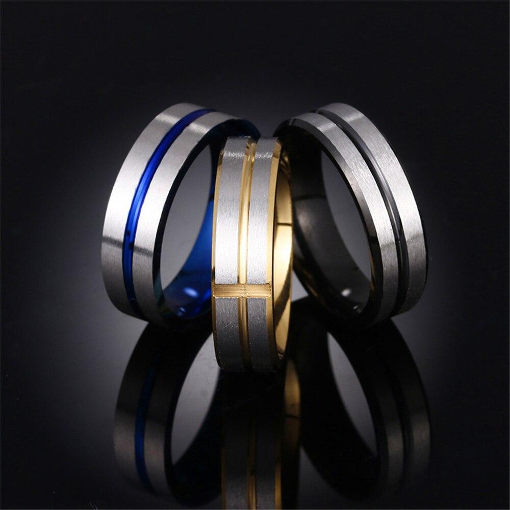Мужское модное классическое кольцо из нержавеющей стали трех цветов