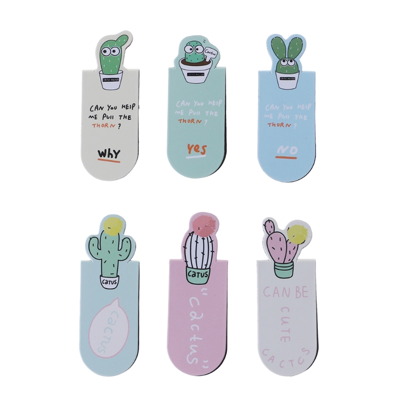 Fresh Cute Cactus Magnetic Bookmarks Stationery School Office Supplies 3Pcs /Set