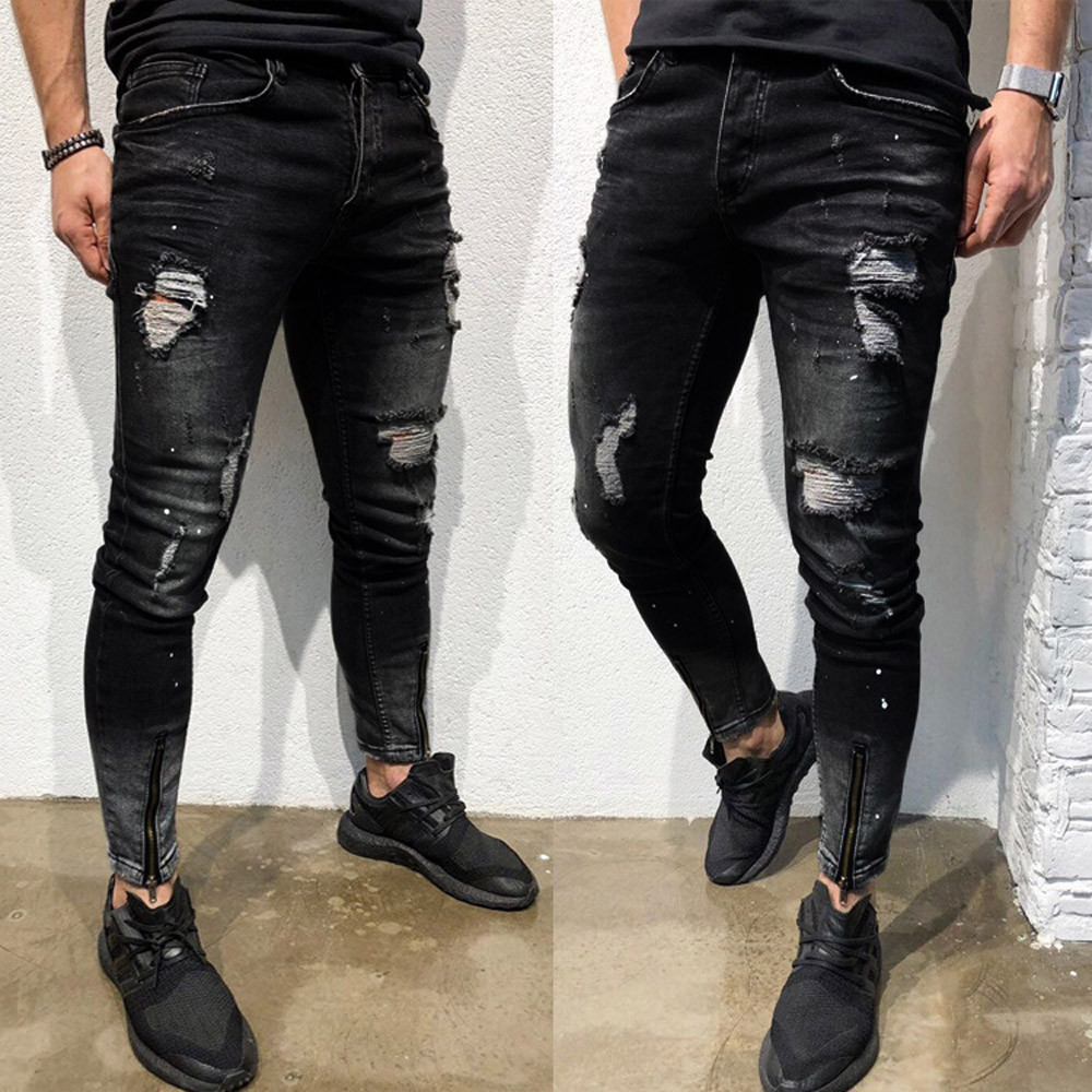 Jeans Men джинсы Fashion Skinny Stretch Hole Denim Pants Distressed Ripped Freyed Slim Fit Jeans Trousers Long Pants Free Ship