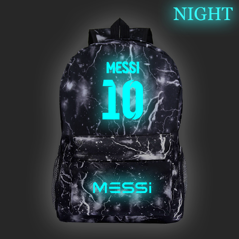 Hot Sale Messi Luminous Bags Boys Girls Students School Backpack Fashion New Pattern Schoolbag Teens Men Women Travel Knapsack