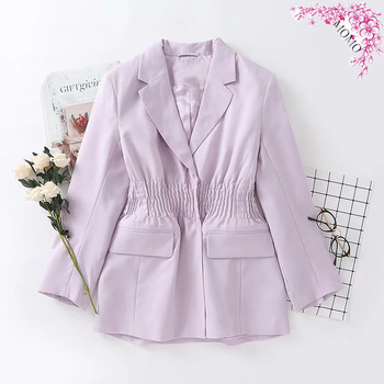 [EWQ] 2021 Spring Casual Women Blazer Jacket Elegant Purple Fold Waist Office Lady Suit Coat Outwear  Ladies Office Coat 16Q542B 1
