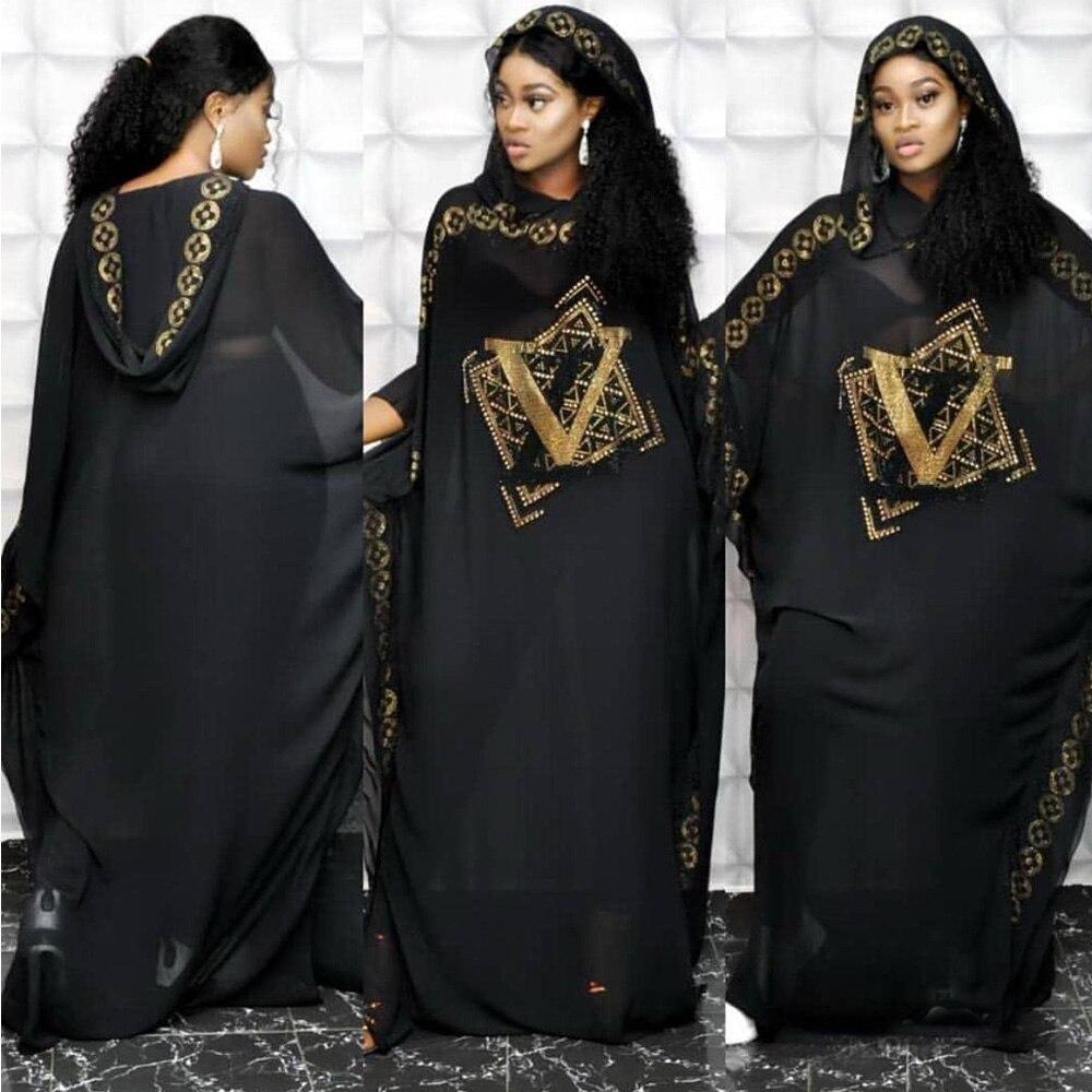 Musulman Pakistan Muslim Women Maxi Chiffon Dress Dubai Abaya Robe Femme Islam Kaftan Batwing Sleeve Diamond Print African Dress