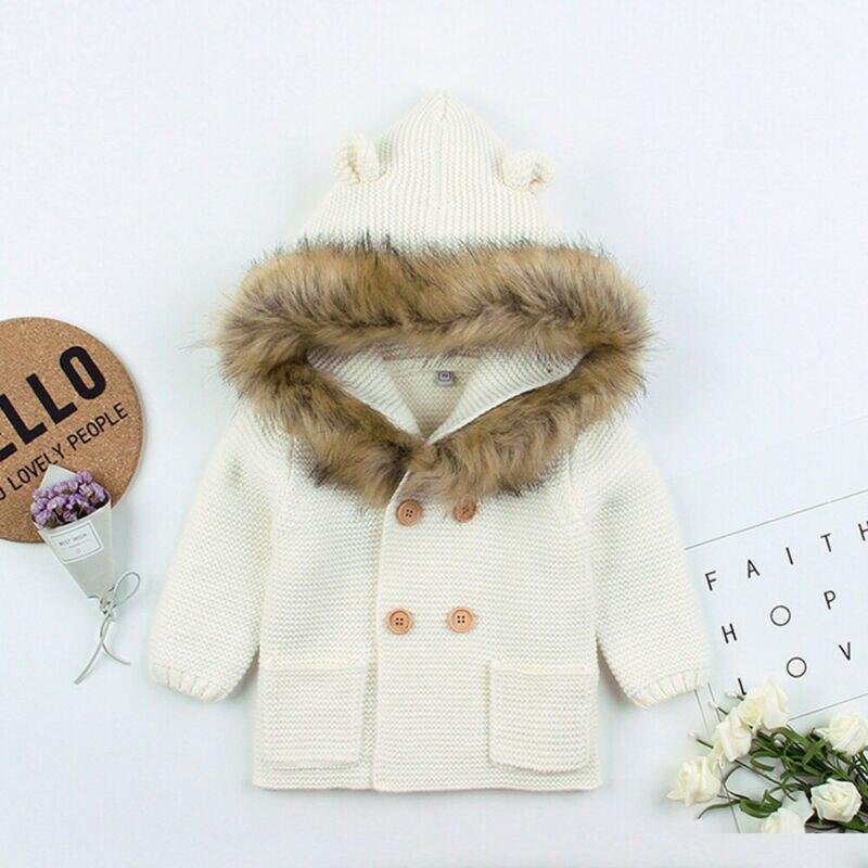 2019 Winter Warm Newborn Baby Sweater Fur Hood Detachable Infant Boys Girl Knitted Cardigan Fall Outwear Children Knitwear 1-24M