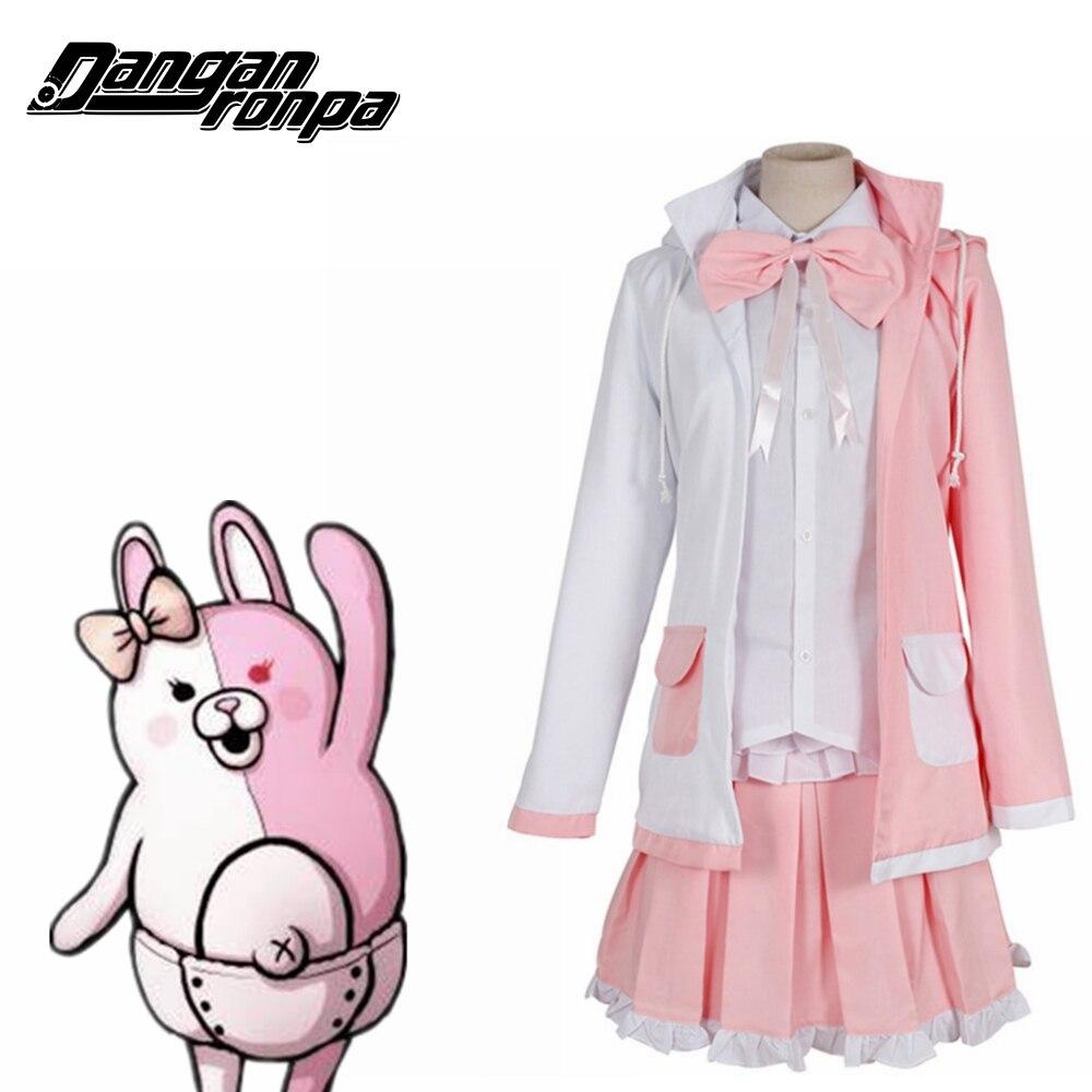 Danganronpa Dangan Ronpa 2 Monomi Pink White Dress Full Set Women Halloween Cosplay Costume