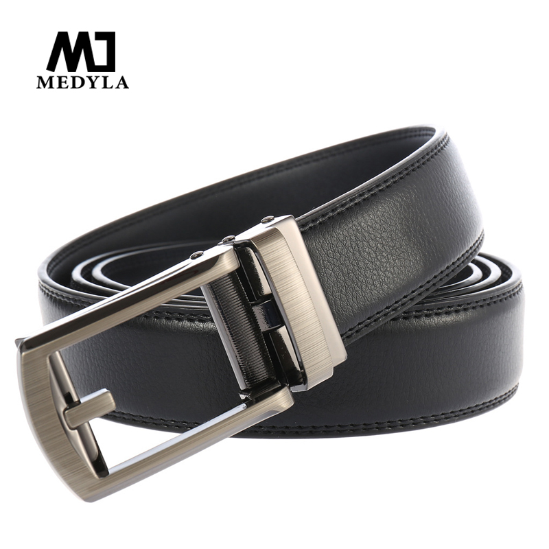 MEDYLA Fashion Automatic Buckle Men's Belt Genuine Luxury Leather Strap High Quality Male Belts Business Black Coffee Color