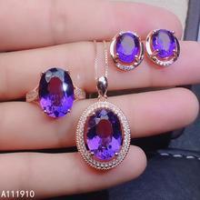 Kjjeaxcmy jóias finas 925 prata esterlina incrustada ametista colar pingente brinco anel terno feminino popular