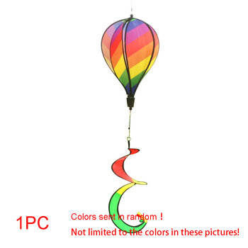1pc Rainbow Multi-color Random Color RFID Blocking For Children Windmill Toy Striped Hot Air Balloon Windsock Wind Spinner