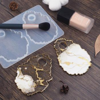 DIY Crystal Epoxy Resin Makeup Tray Dish Silicone Mold Irregular Agate Mirror Color Palette Resin Mold Handmade Casting Mould