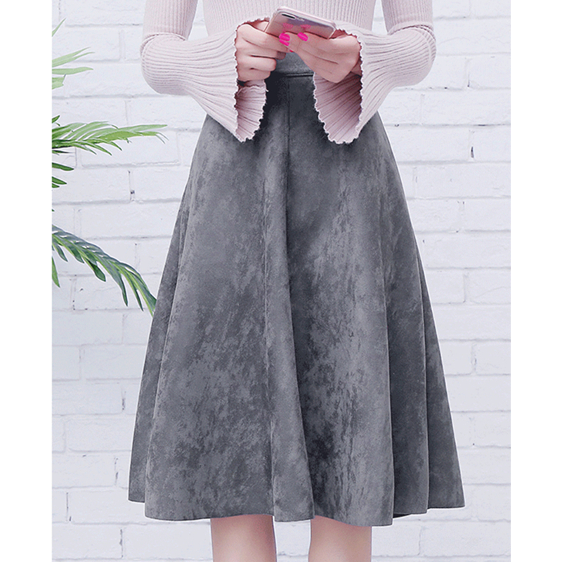 2019 Winter Vintage Style Elastic Ladies A Line Black Green Flare Fashion Skirt Women Suede High Waist Midi Skirt