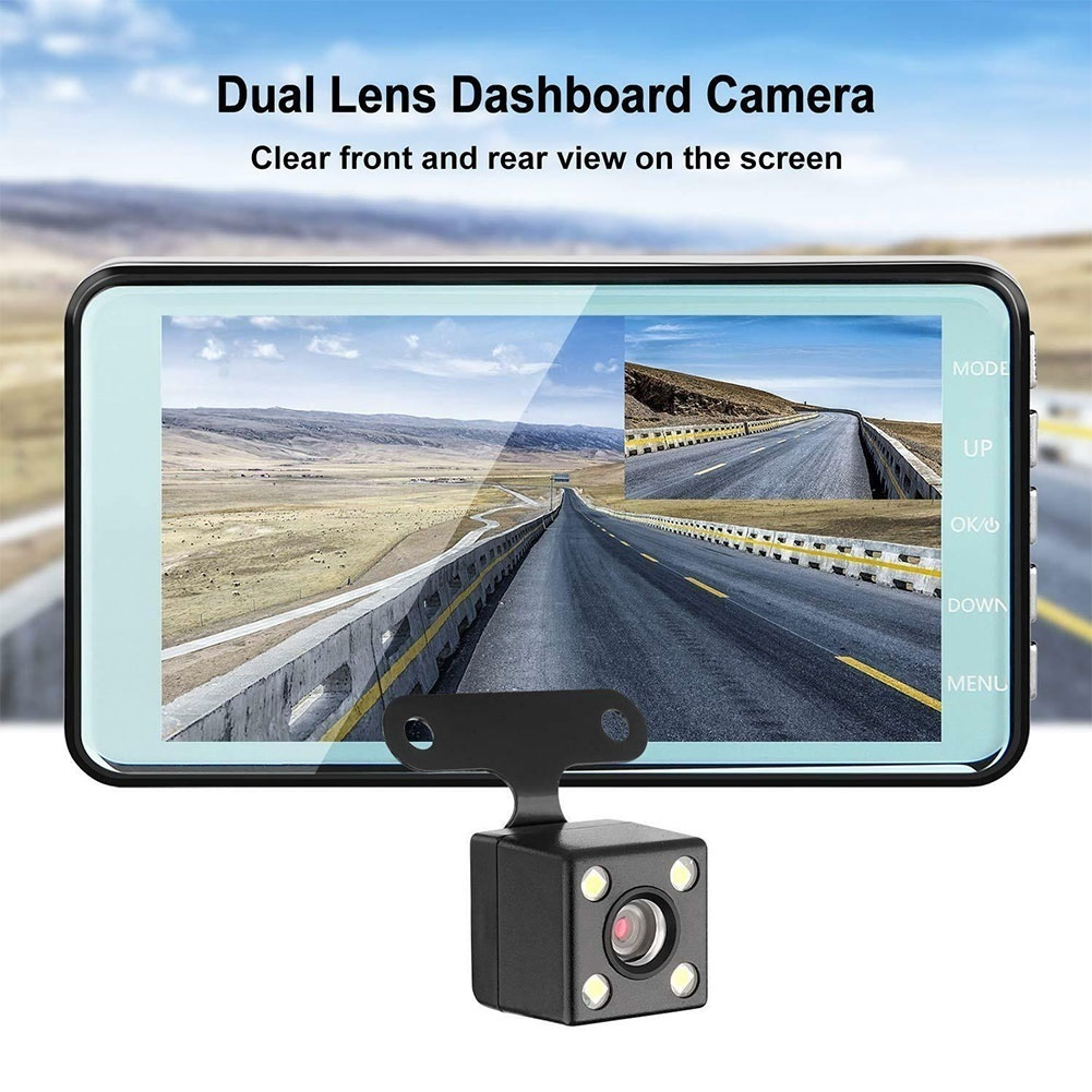Car Front Night Vision Dual Lens Video Camera 170 degree Wide Angle In Vehicle Driving DVR hd Loop Recording