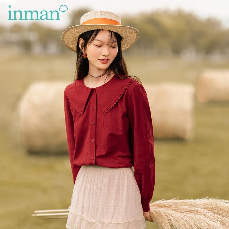 INMAN Spring Autumn Vintage Peter pan Collar Large Lapel Wavy Edge Embroidered Cotton Lantern and Long Sleeve Elegant