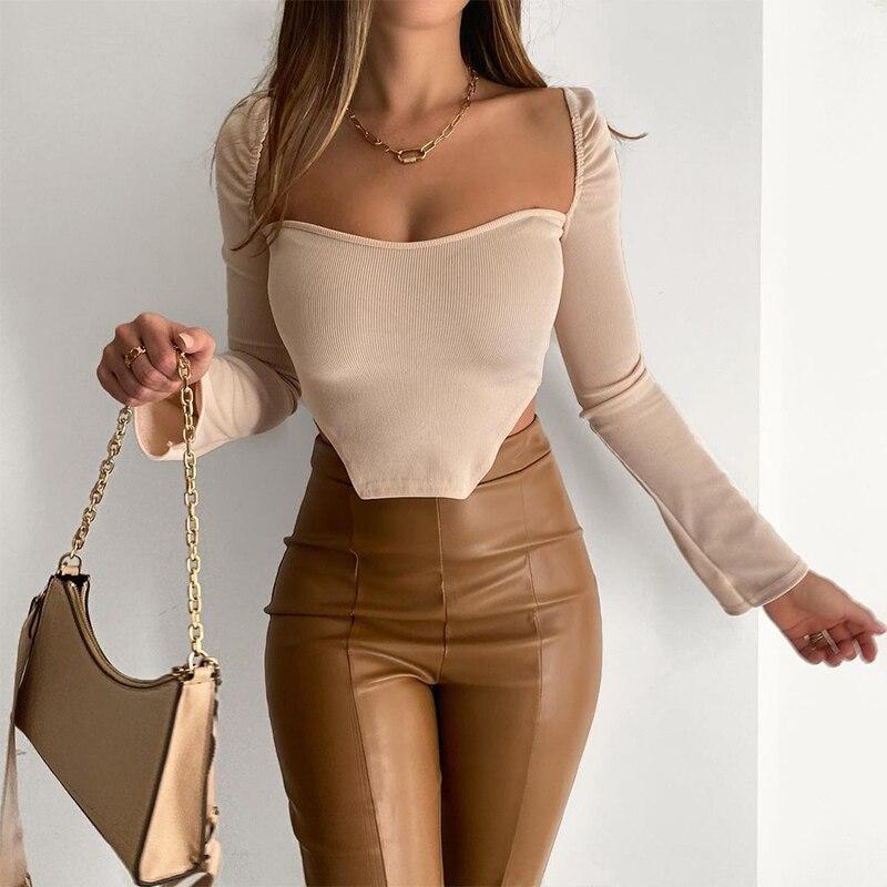 Nibber temel zarif pamuk t gömlek kadın çizgili örgü Low-cut kare yaka ofis bayan 2021 bahar Casual Slim Tee streetwear