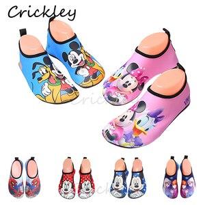 Enfants chaussures de plage dessin animé Mickey Minnie nager eau chaussures pour filles garçons pieds nus été pantoufles séchage rapide Aqua chaussettes(China)