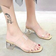 HOT Clear Heels Slippers Women Sandals Summer Shoes Woman Tr