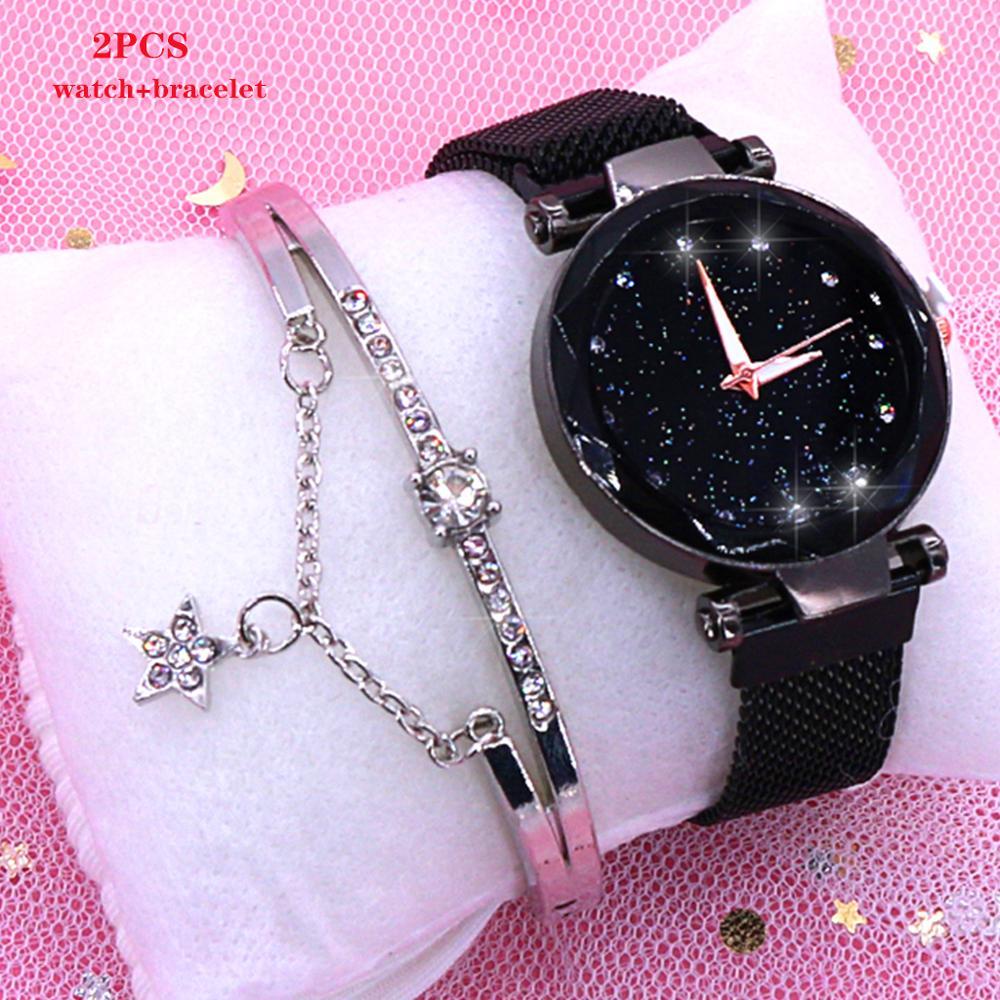 2019 kobiet zegarki magnetyczne Starry Sky kobieta zegar zegarek kwarcowy moda damska zegarek na rękę Reloj Mujer Relogio Feminino 3